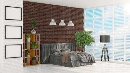 view of an elegant red couch: Beautiful modern interior with bed. 3D rendering