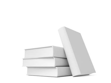 mag: Blank book with white cover on white background. 3D rendering Stock Photo