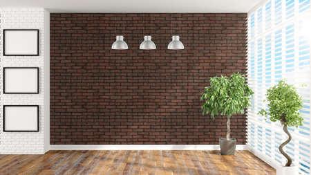 rendering: Beautiful empty interior with plants. 3D rendering Stock Photo