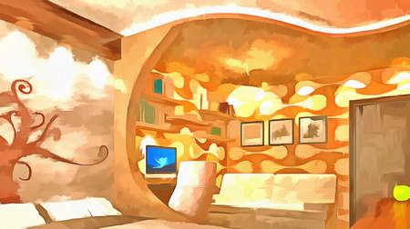 green couch: Watercolor painting modern interior with the use of filters painting. 3D rendering