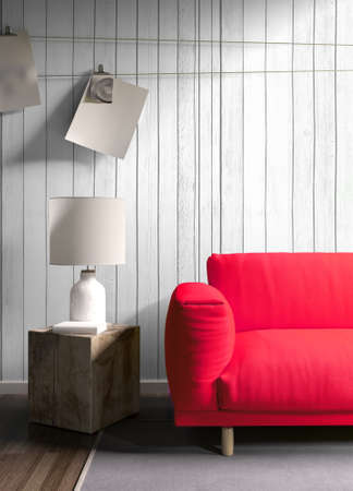view of an elegant red couch: Modern bright interior . 3D rendering Stock Photo