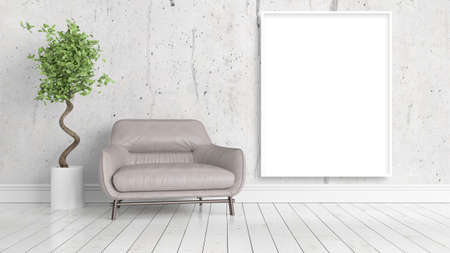 mocks: Modern bright interior with empty frame . 3D rendering
