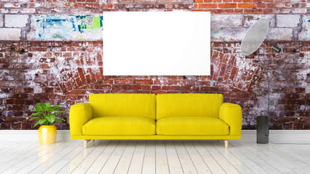green couch: Beautiful living room interior with mock up poster frame. 3D rendering Stock Photo
