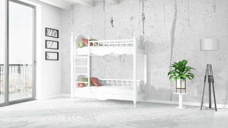 Mooi modern kinderkamer interieur met bed d rendering royalty