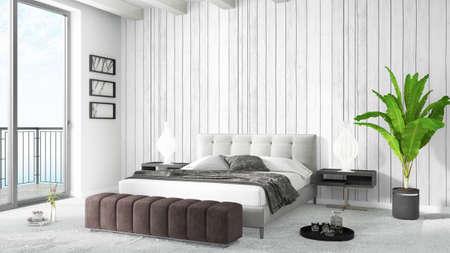 Schöne Moderne Schlafzimmer Interieur Mit Leeren Wand. 3D-Rendering ...