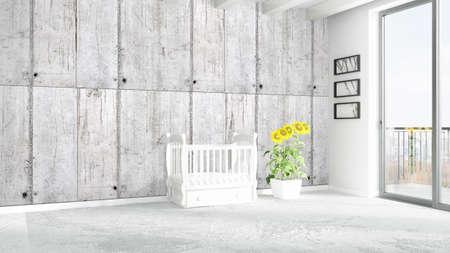 Mooi modern kinderkamer interieur met bed. 3d rendering royalty