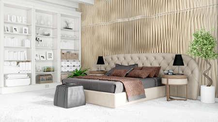 Modern bright interior . 3D rendering Stok Fotoğraf