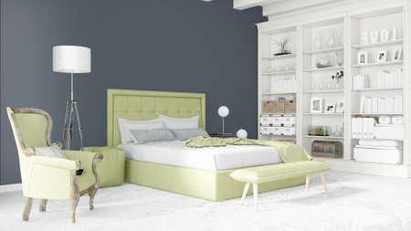 rendering: Beautiful modern bedroom interior empty wall. 3D rendering Stock Photo