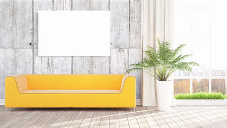 Beautiful living room interior with mock up poster frame. 3D rendering Stock Photo