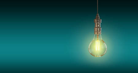 Light bulb lamps on a colour background. 3D rendering
