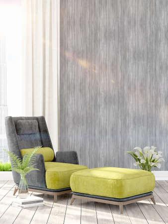 Schöne Moderne Wohnzimmer Innenraum Mit Sessel. 3D-Rendering ...