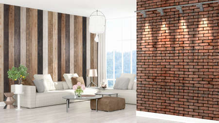 Beautiful modern living room interior with empty wall. 3D rendering