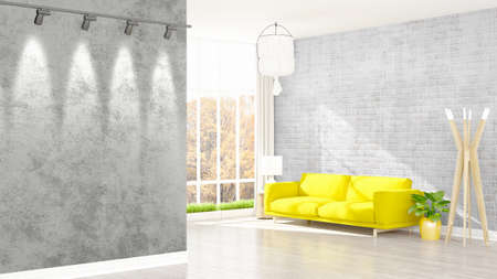 living room wall: Beautiful modern living room interior with empty wall. 3D rendering
