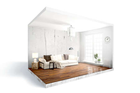 Modern bright interior . 3D rendering Banque d'images