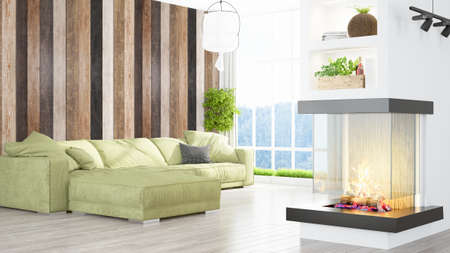 green couch: Modern bright interior . 3D rendering Stock Photo