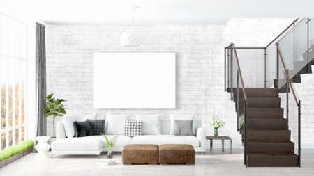 rendering: Beautiful living room interior with mock up poster frame. 3D rendering Stock Photo