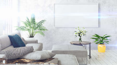 rendering: Modern bright interior with empty frame . 3D rendering
