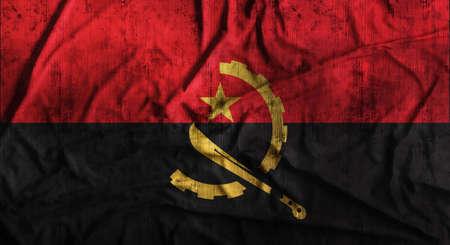 Grunge crumpled Angola flag. 3d rendering