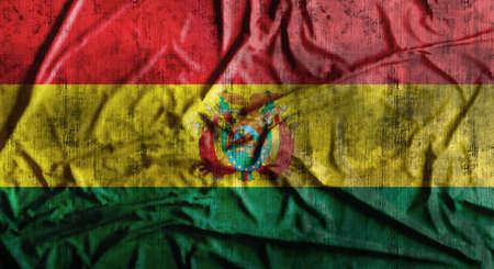 Grunge arrugado bandera de Bolivia. Representación 3D
