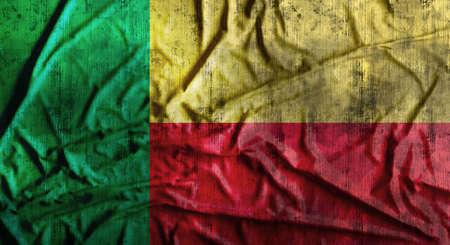 Grunge crumpled Benin flag. 3d rendering