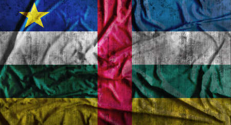 dirty car: Grunge crumpled Central African Republic flag. 3d rendering
