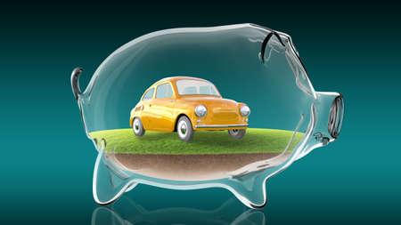 Cartoon car inside transparent piggy bank. 3d rendering