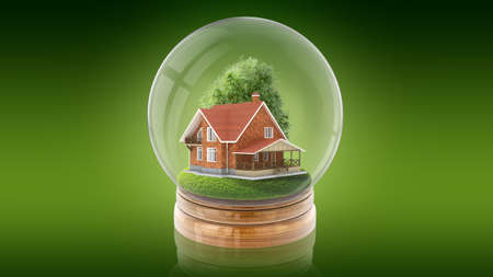 Transparent sphere glass ball with rustic wooden house and tree inside. 3D rendering. Stock Photo