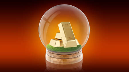 Transparent sphere glass ball with golden bars on the grass inside. 3D rendering.