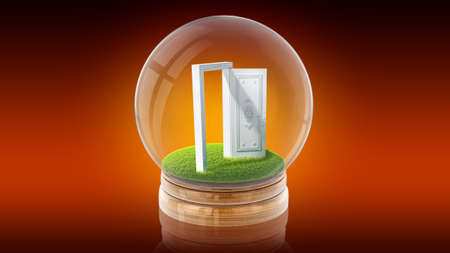 copy paste: Transparent sphere glass ball with white open door inside. 3D rendering.
