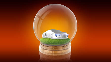 Transparent sphere glass ball with modern sport car on the grass inside. 3D rendering. Stock Photo