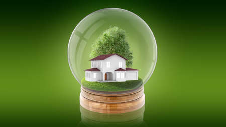 Transparent sphere glass ball with modern white house and tree inside. 3D rendering. Stock Photo
