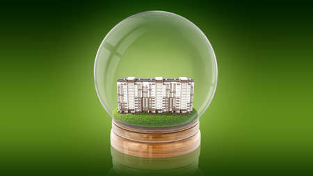 Transparent sphere glass ball with mansion inside. 3D rendering.