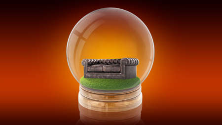 Transparent sphere glass ball with brown leather couch on grass inside. 3D rendering.