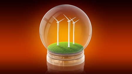 Transparent sphere glass ball with ecology-friendly windmills on the grass inside. 3D rendering.