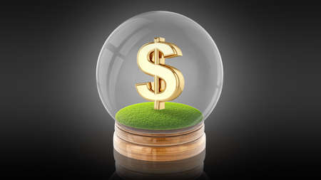 Transparent sphere glass ball with dollar sign on the grass inside. 3D rendering.
