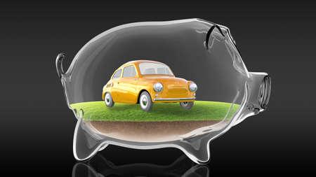 Conceptual image of a transparent piggy bank with a cartoon retro car inside. 3d rendering