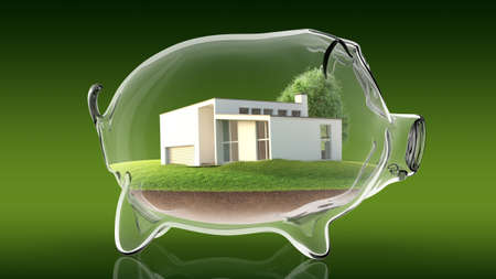 Conceptual image of a transparent piggy bank with a house inside. 3d rendering