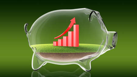 Conceptual image of a transparent piggy bank with a rising financial graph. 3d rendering Stock Photo