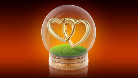 Transparent sphere glass ball with golden marriage rings on the grass inside. 3D rendering. Stock Photo