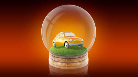 Transparent sphere ball with car on the grass inside. 3D rendering. Stock Photo