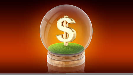 Transparent sphere ball with dollar sign inside. 3D rendering. Stock Photo