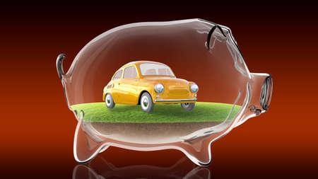 benefit: Cartoon car inside transparent piggy bank. 3d rendering