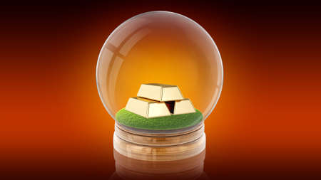 Transparent sphere ball with golden bars inside. 3D rendering.