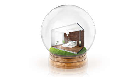 Transparent sphere ball with concept interior inside. 3D rendering.