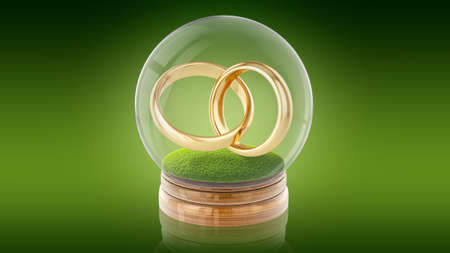 Transparent sphere ball with marrage rings inside. 3D rendering. 3D rendering. Stock Photo