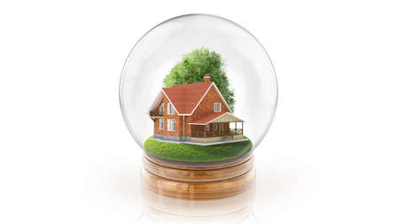 Transparent sphere ball with wooden house inside. 3D rendering. Stock Photo