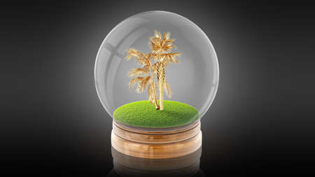 Transparent sphere ball with golden palm inside. 3D rendering.