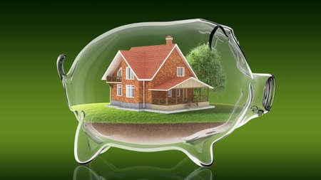 Home inside transparent piggy bank. 3d rendering