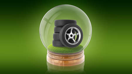 Transparent sphere ball with tires of car inside. 3D rendering.