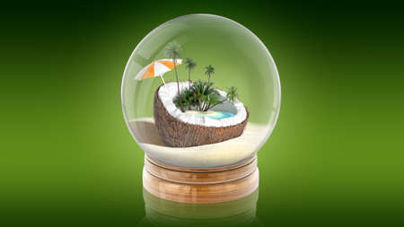 Transparent sphere ball with oasis inside. 3d rendering. Stock Photo